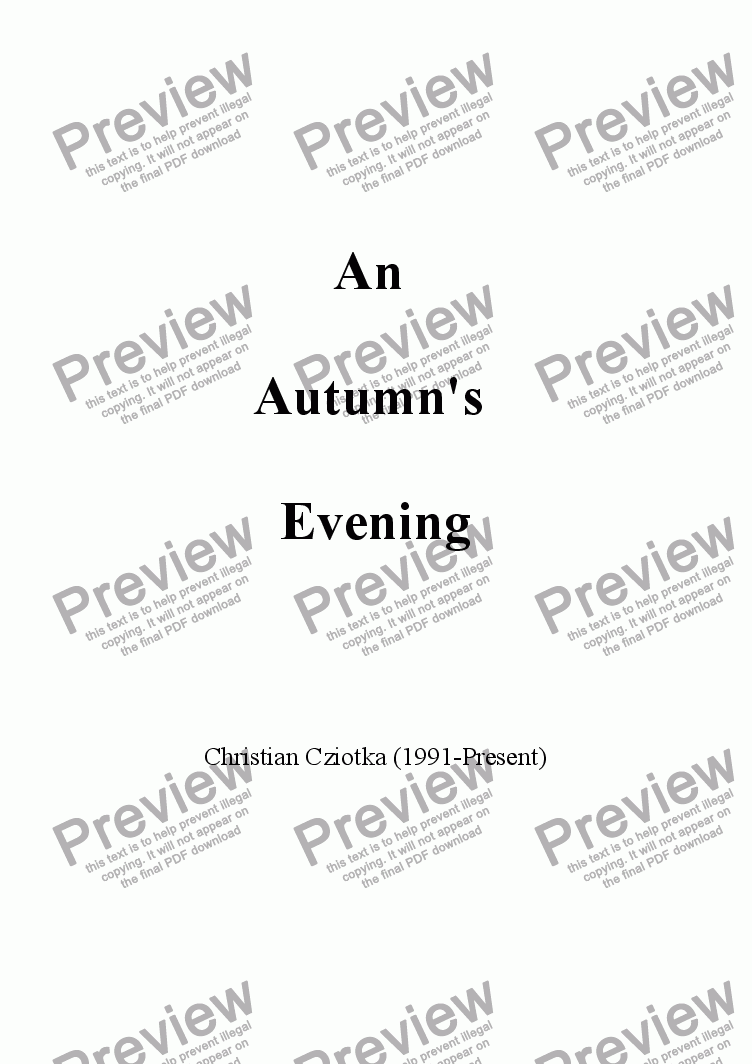 page one of An Autumn's Evening