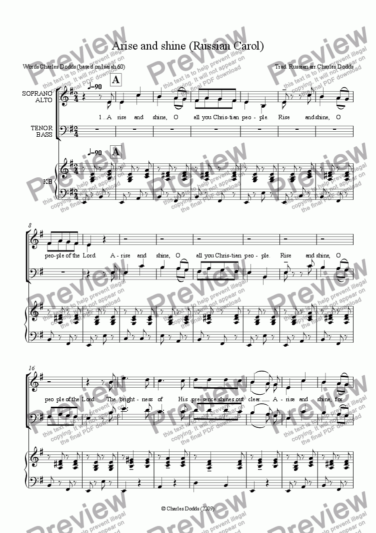 page one of Arise and shine (Russian Carol)