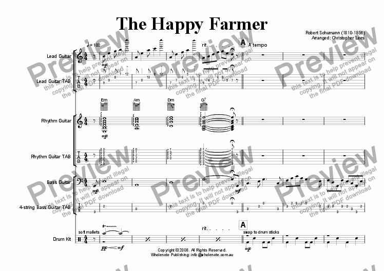 page one of The Happy Farmer for Modern Guitar Ensemble