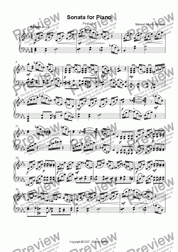 page one of Sonata for Piano