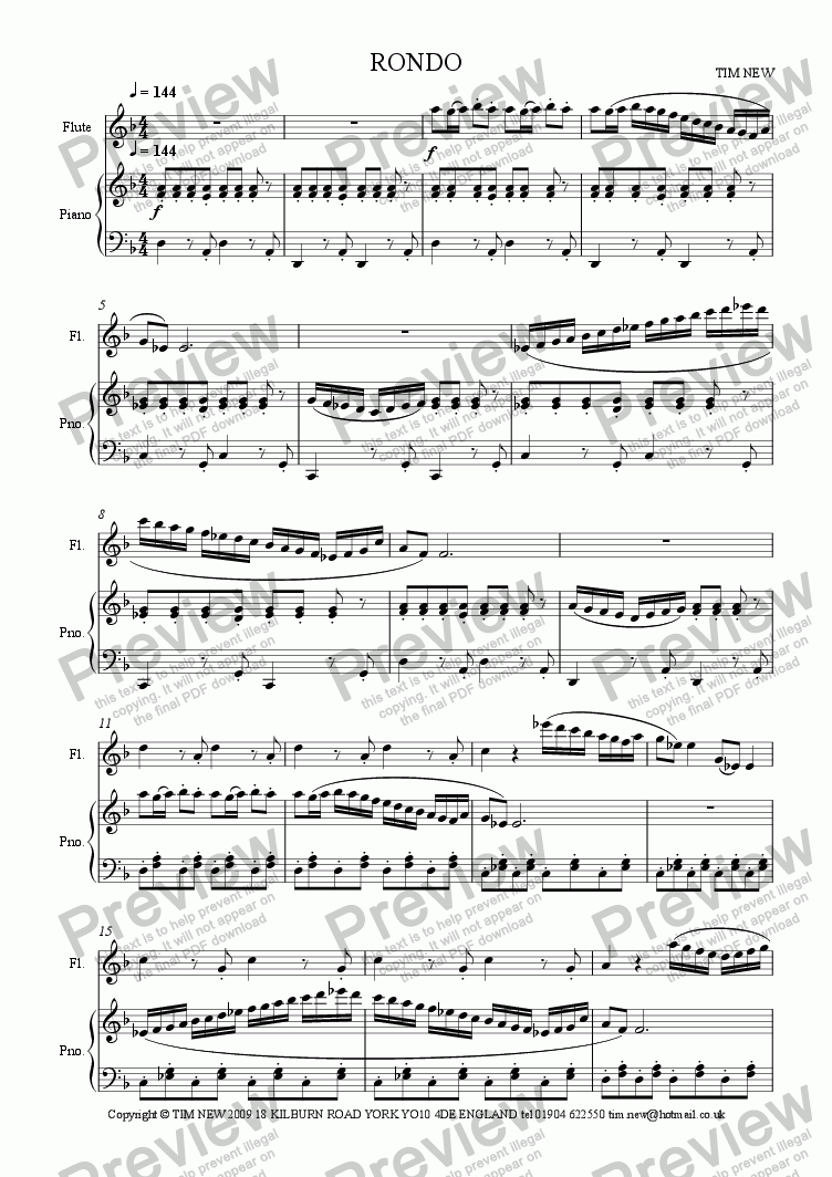 page one of RONDO for flute and piano