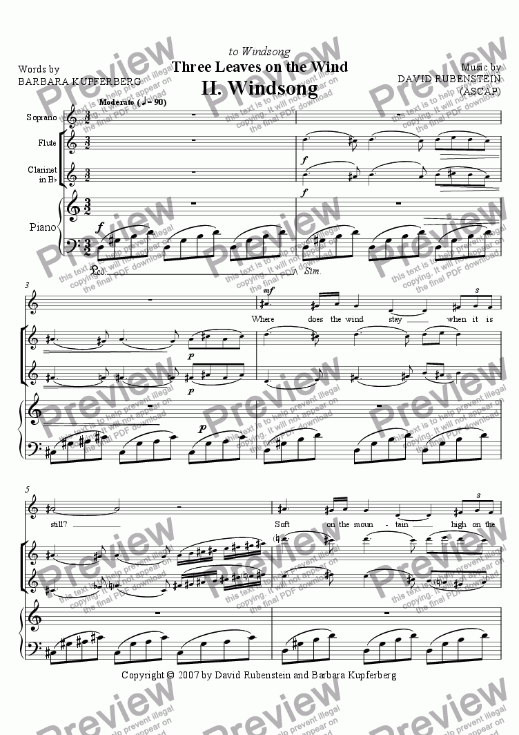 page one of Windsong (for soprano, flute, clarinet, piano)