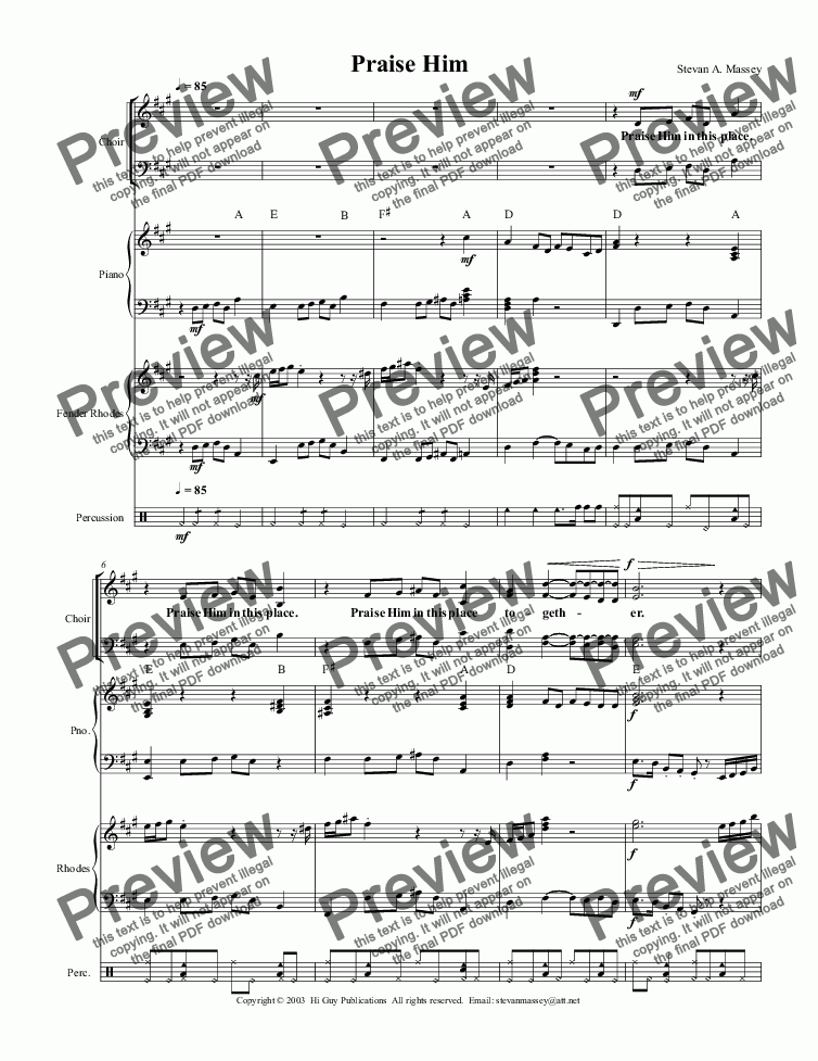 page one of Praise Him  (WORSHIP/POP - SATB, keyboards & drums)