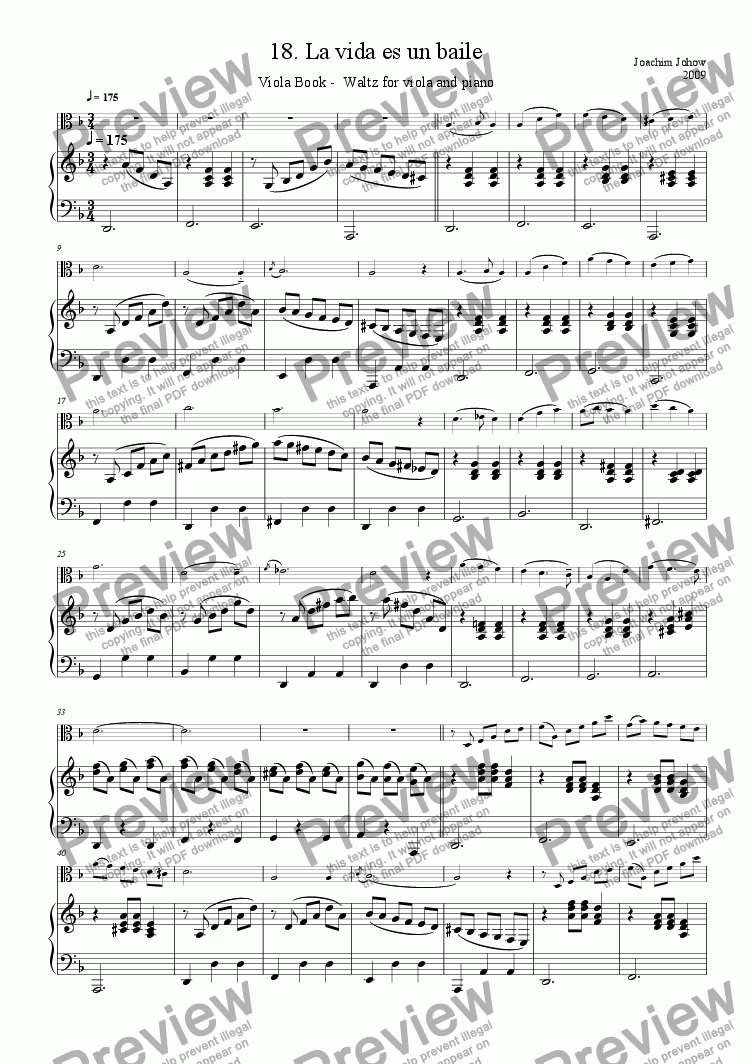 page one of Viola Book 18 (La vida es un baile - waltz)