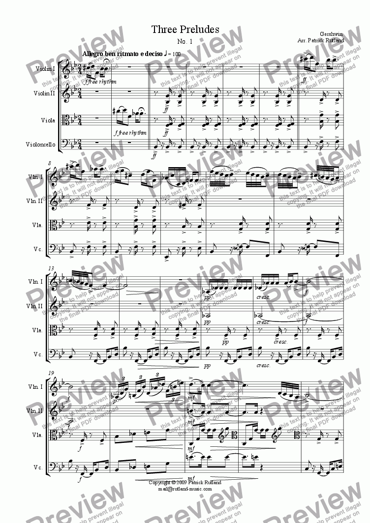 page one of Gershwin 3 Preludes, Number 1