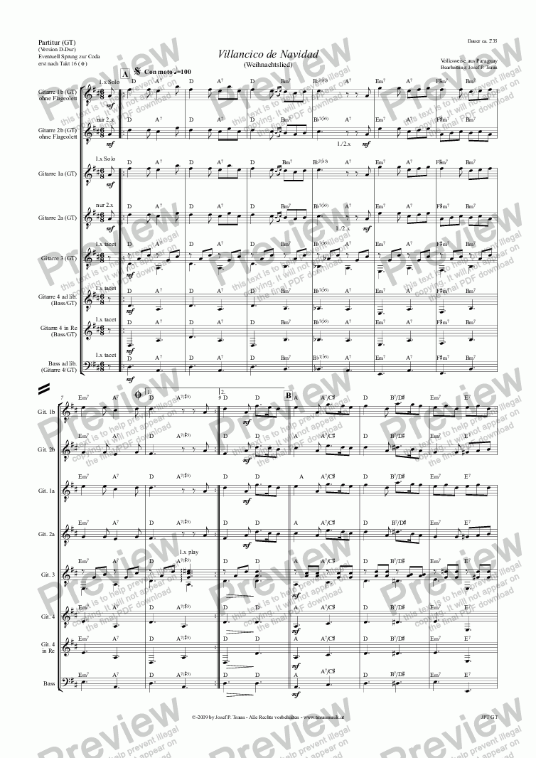 page one of Villancico de Navidad (GT/Score & Parts)