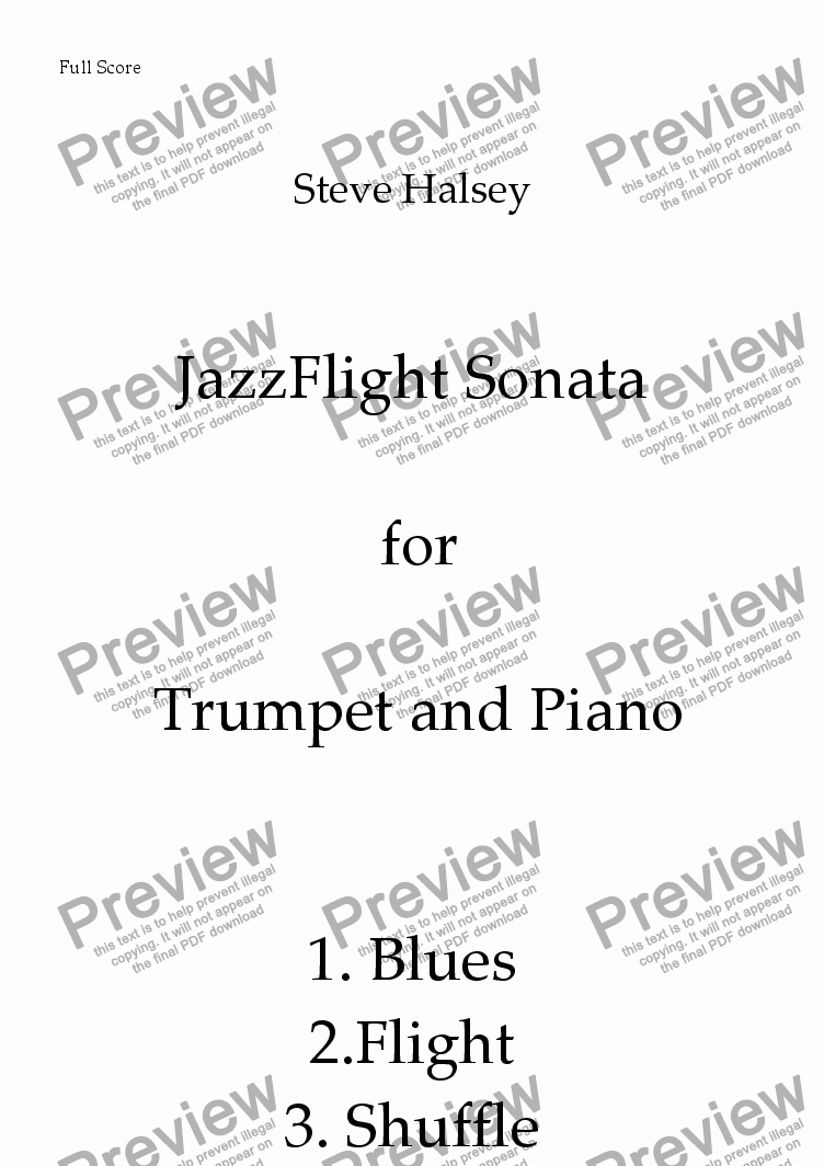page one of Sonata for Trumpet and Piano 'JazzFlight'