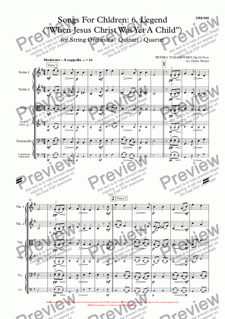 "page one of 16 Songs for Children, Op.54 No.6 Legend (""When Jesus Christ Was Yet A Child"")"