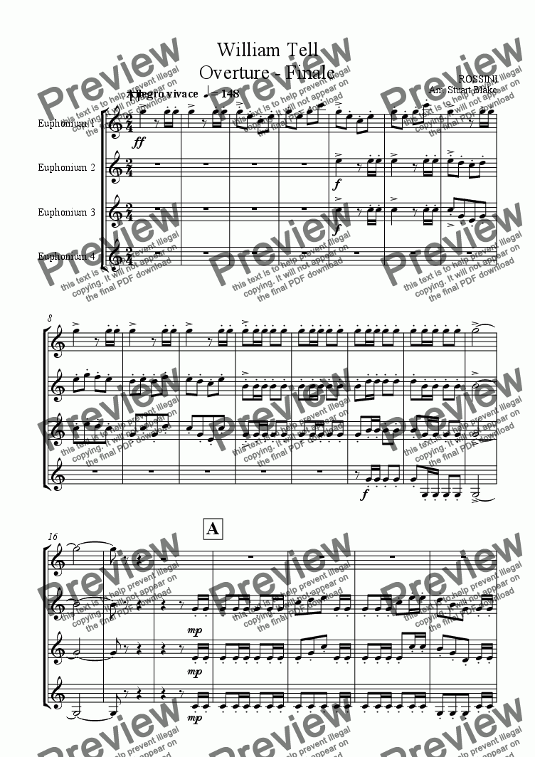 page one of William Tell - Overture - Finale (Euphonium or other brass quartet)