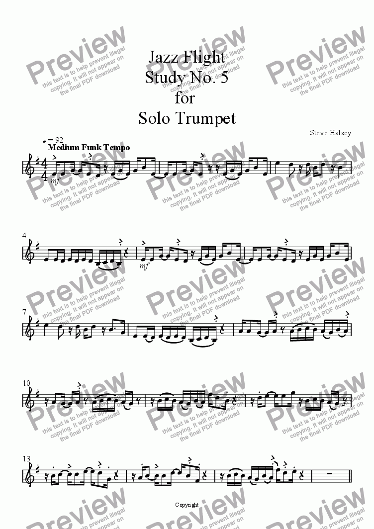 Jazz Flight Study No 5 for Solo Trumpet for Solo instrument (Trumpet in Bb)  by Steve Halsey - Sheet Music PDF file to download