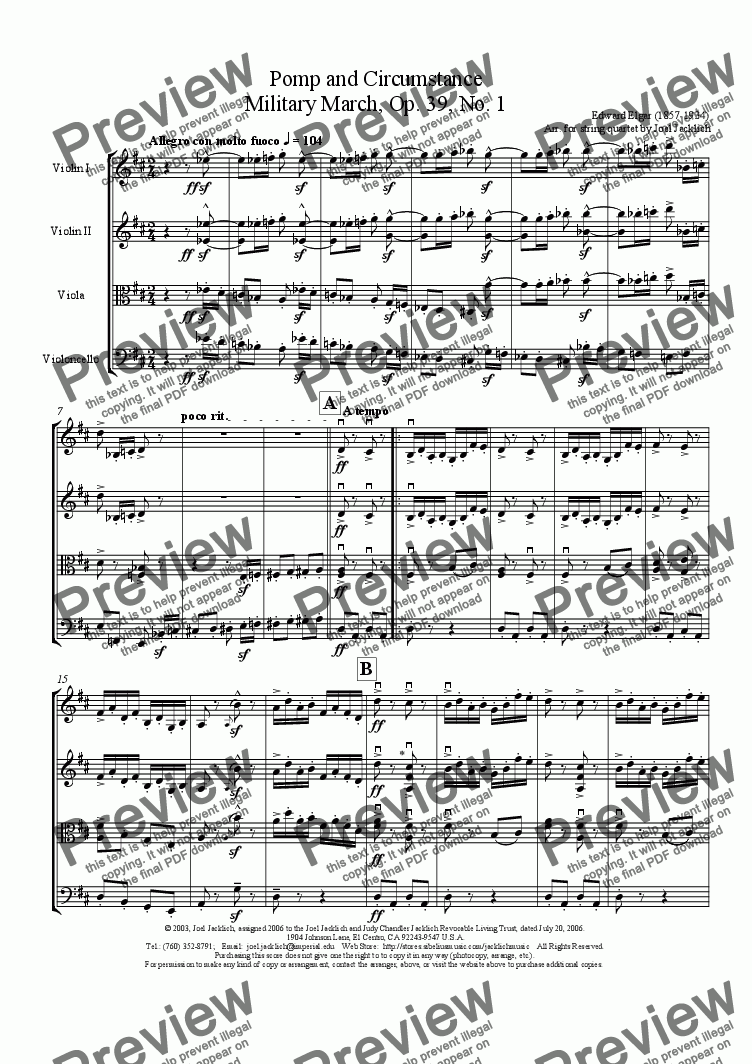 page one of Pomp and Circumstance March, Op. 39, No. 1 for String Quartet (Professional Version)