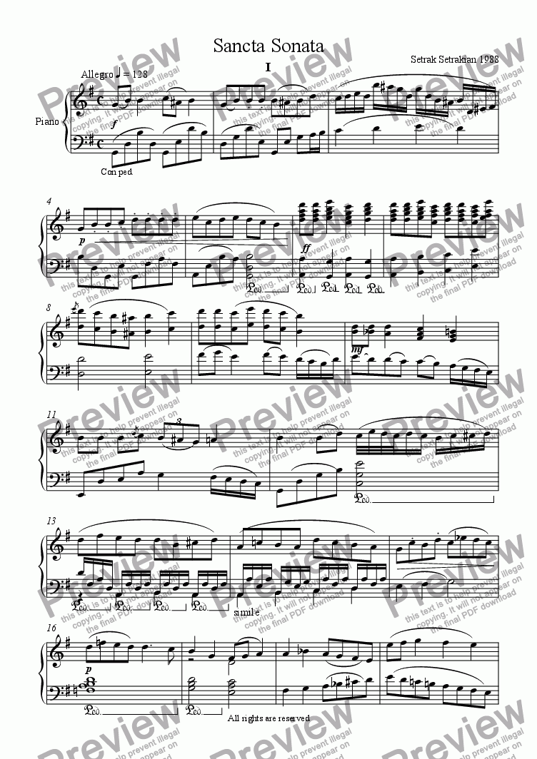 page one of Sancta Sonata for Piano in GASALTTEXT