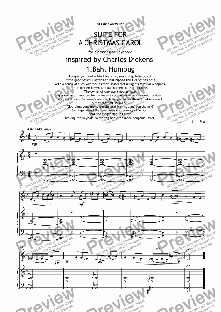 A Christmas Carol Pdf.Suite For A Christmas Carol 1 Bah Humbug For Solo Clarinet In Bb Piano By Linda Fox Sheet Music Pdf File To Download