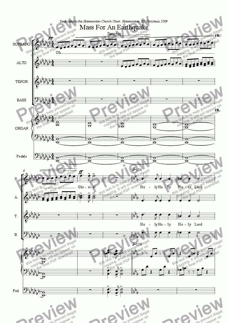 page one of Mass For An Earthquake Sanctus