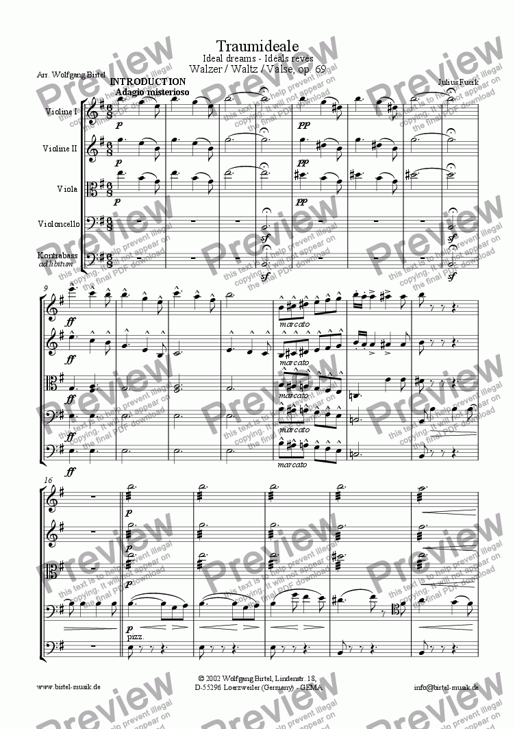 page one of Ideal Dreams (Traumideale - Idéals rêvés) (For strings)