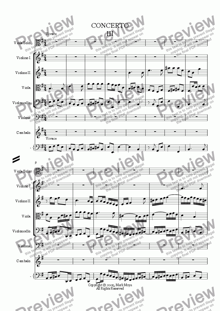 page one of Concerto (for viola with string orchestra and viola da gamba obbligato--third movement)