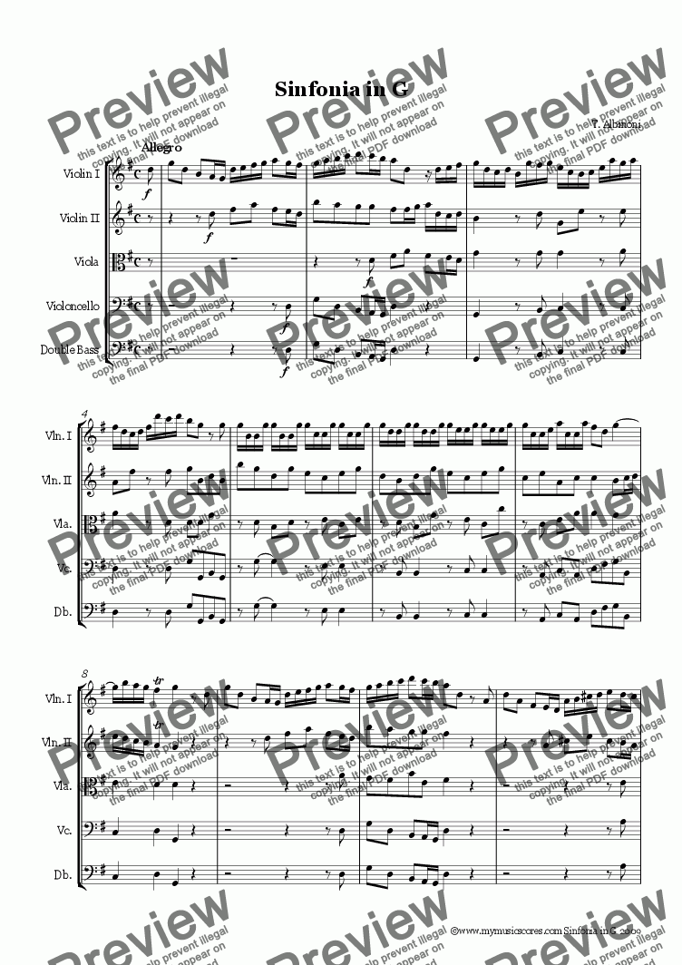 page one of Albinoni Sinfonia in G for String Orchestra