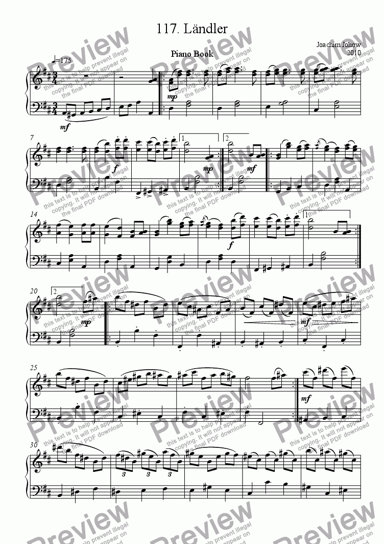 page one of Piano Book 117 (L�¤ndler)