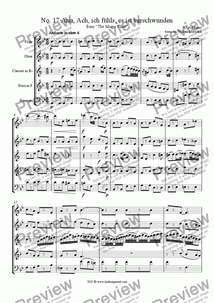 page one of Mozart - Magic Flute No. 17 and 18