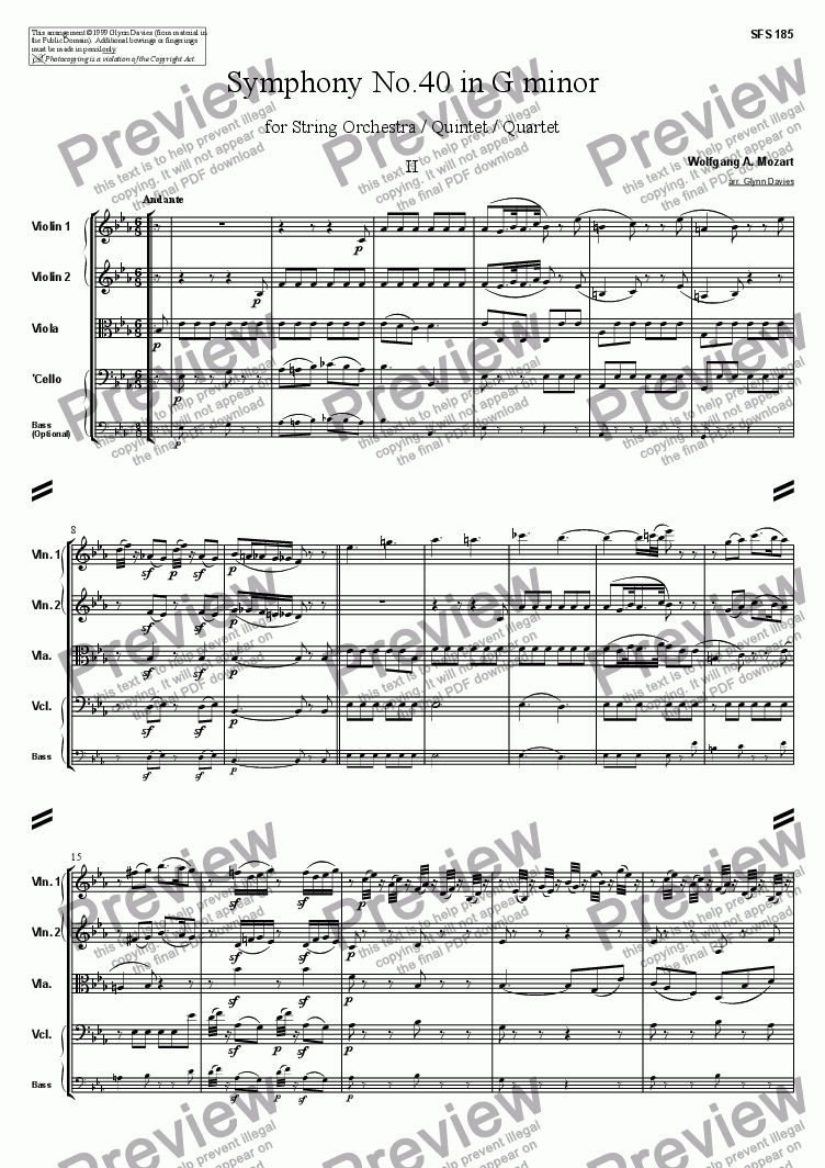 page one of Symphony No.40 - 2. Andante