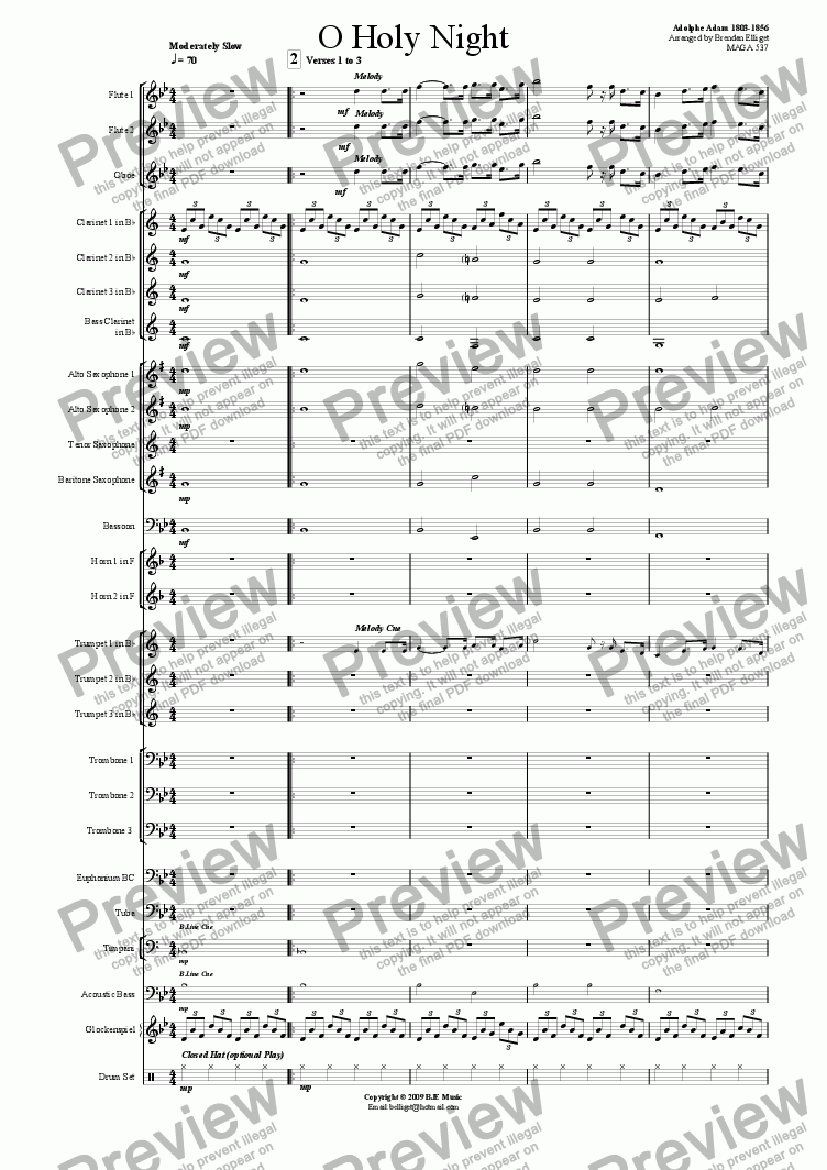 page one of O Holy Night (Christmas) - Concert Band