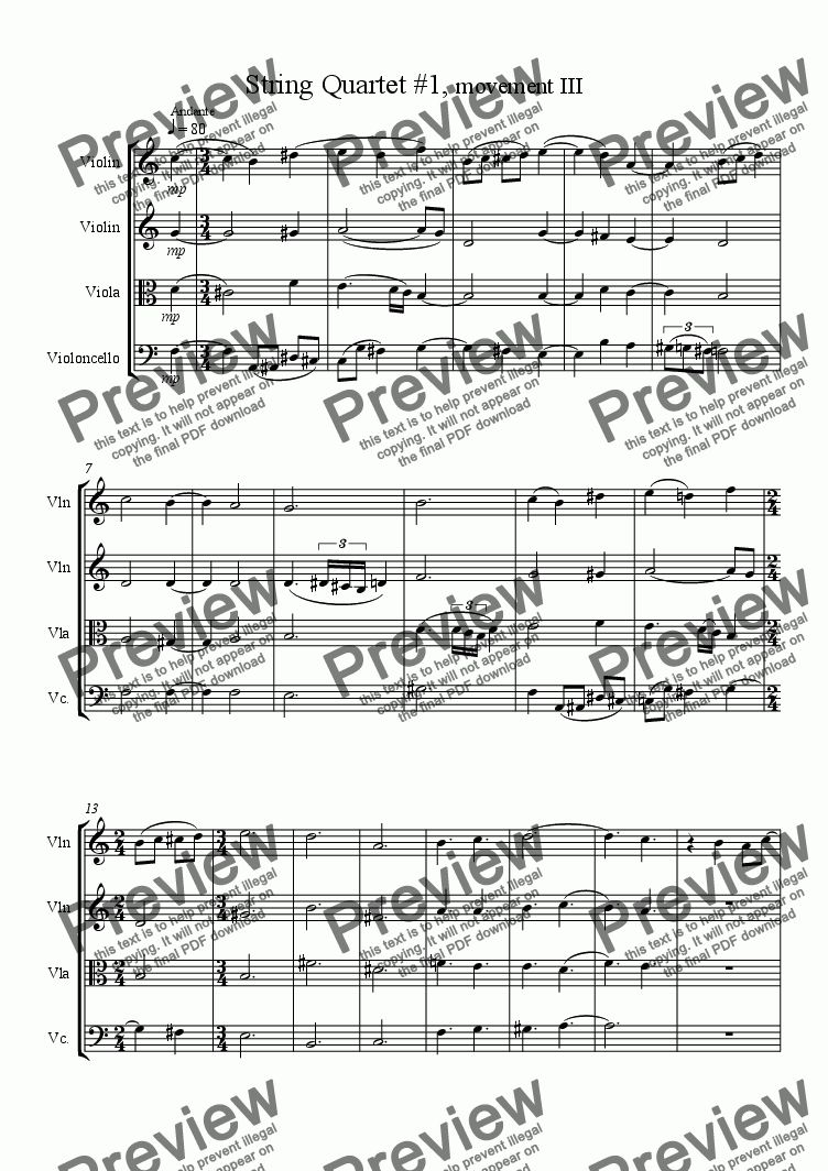 page one of String Quartet #1, movement 3