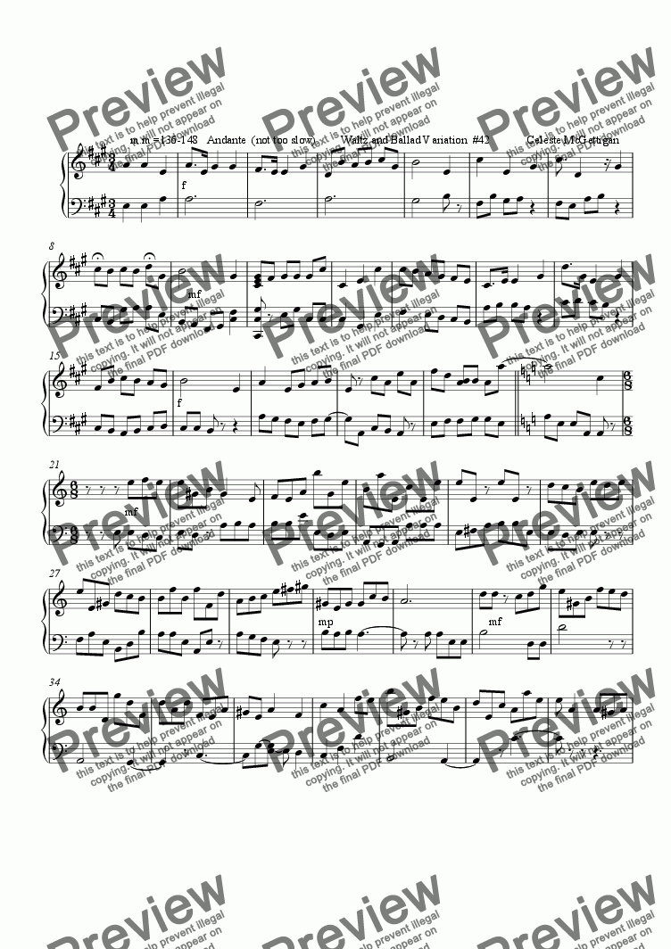 page one of Waltz and Ballad Variation