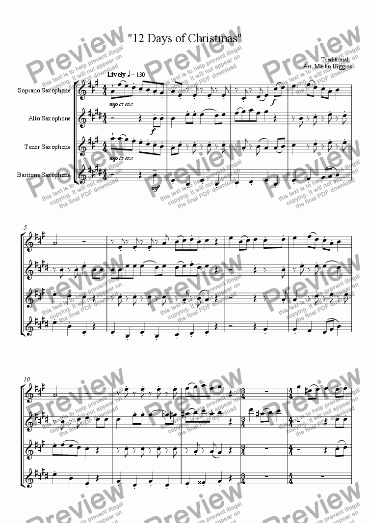 page one of 12 Days of Christmas Saxophone Quartet (SATB)