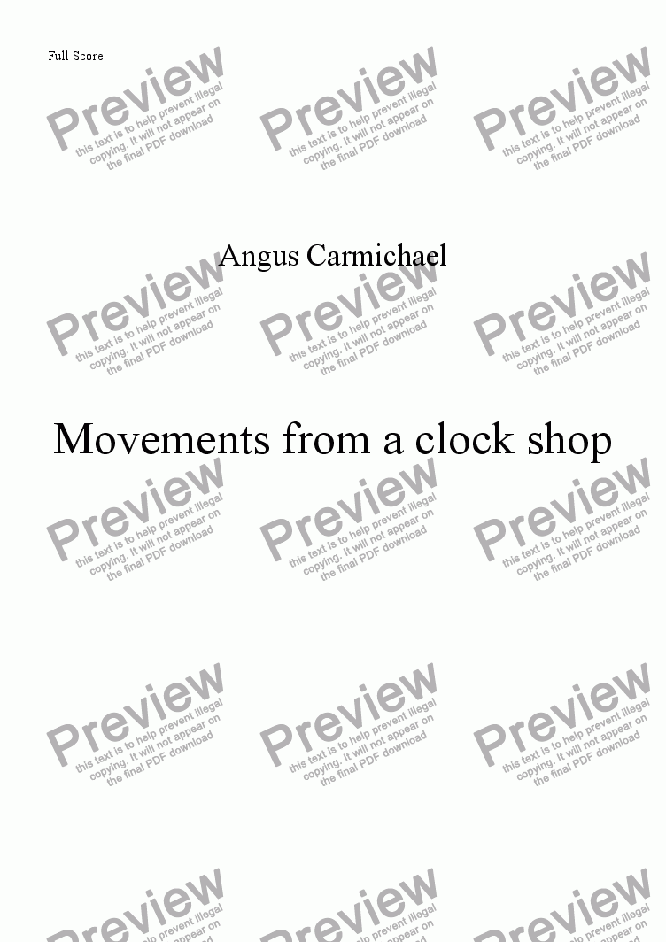 page one of Movements from a clock shop