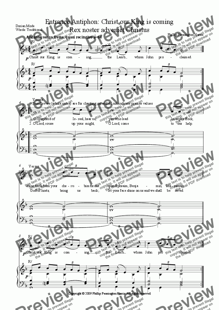 page one of Advent Entrance Antiphon: Christ our King is coming/Rex noster adveniet Christus
