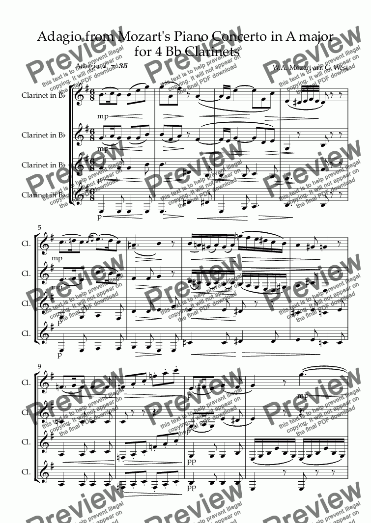 page one of Adagio from Mozart's Piano Concerto in A major  for 4 Bb Clarinets