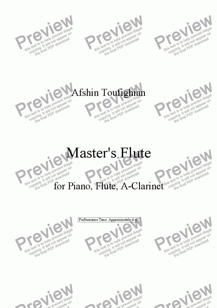 page one of Master's Flute