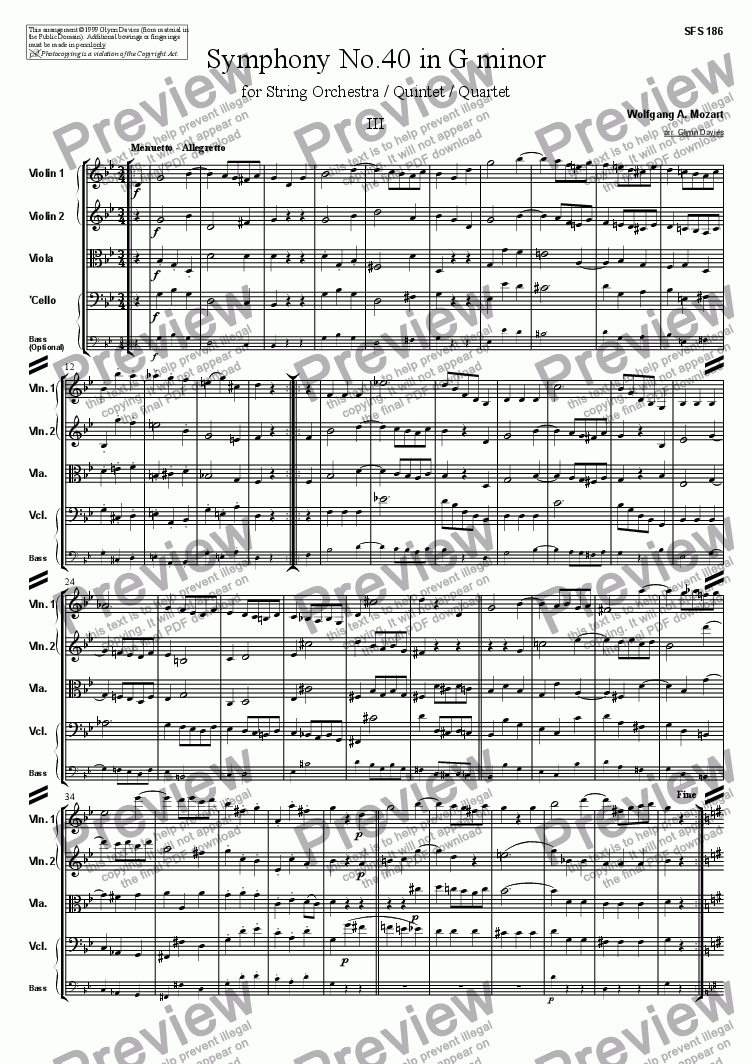 page one of Symphony No.40 - 3. Menuetto