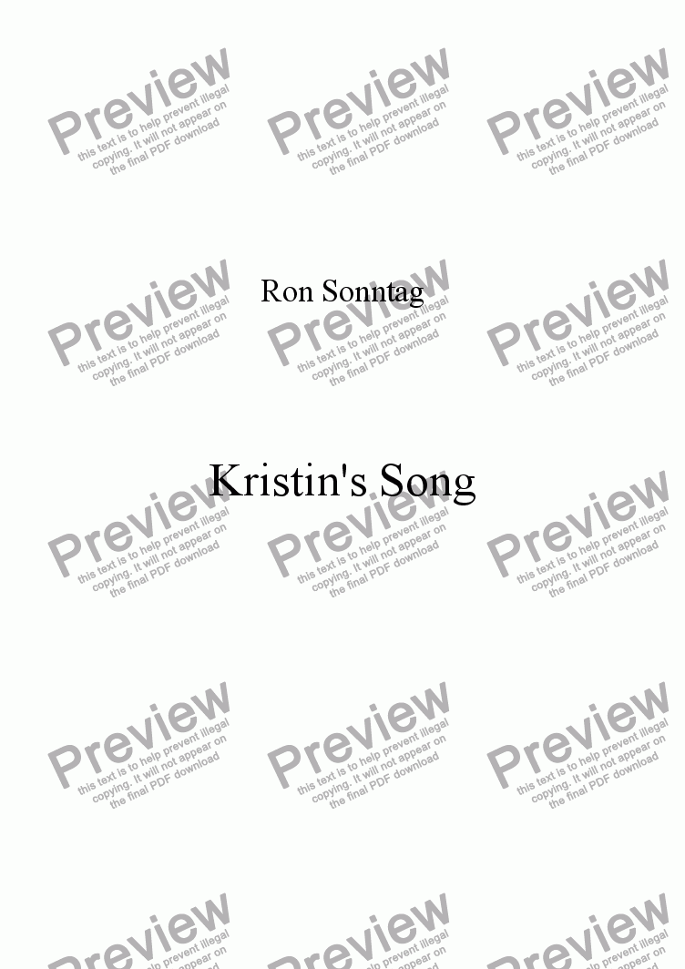 page one of Kristin's Song