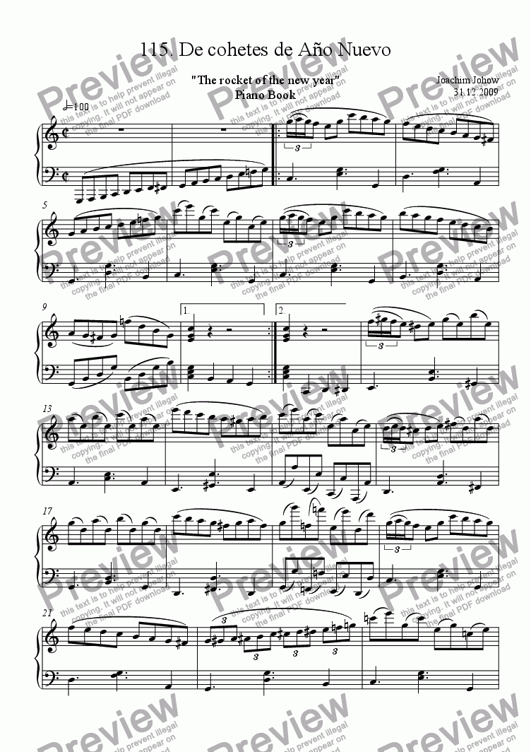 page one of Piano Book 115 (El cohete - The rocket)ASALTTEXT