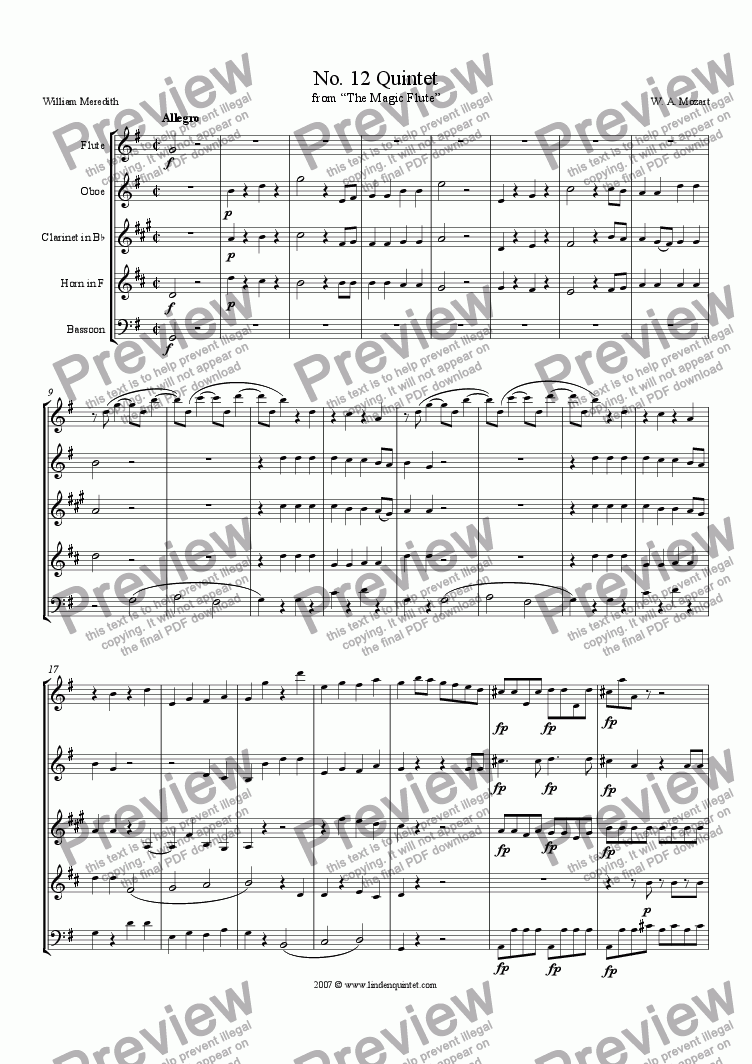 page one of Mozart - Magic Flute No. 12 Quintet