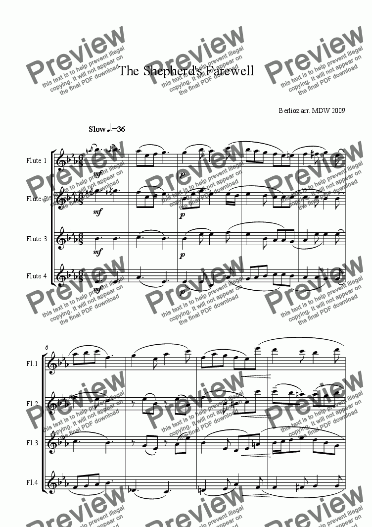 page one of Flute Quartet: Berlioz: Shepherds Farewell