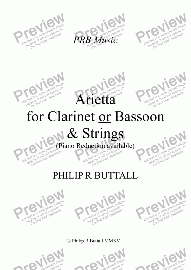 page one of Arietta for Clarinet or Bassoon & Strings