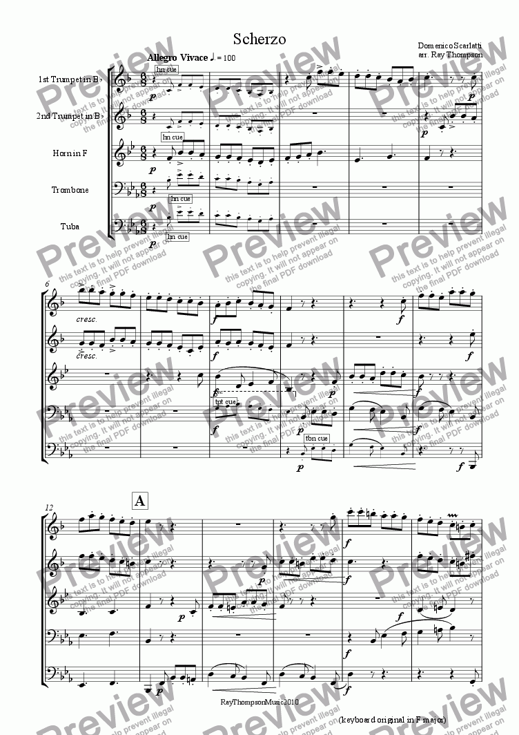 page one of Scherzo from Sonata in F