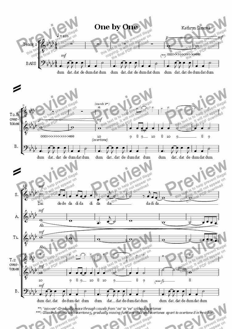 page one of One by One- for overtone choir