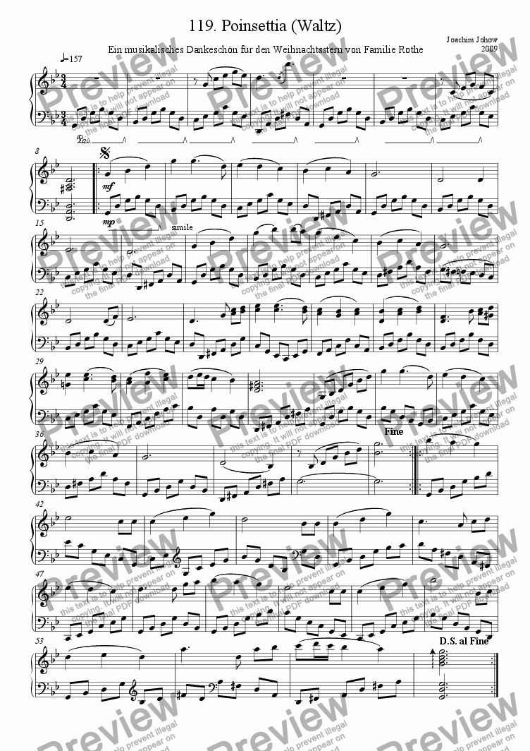 page one of Piano Book 119  (Poinsettia - Waltz)