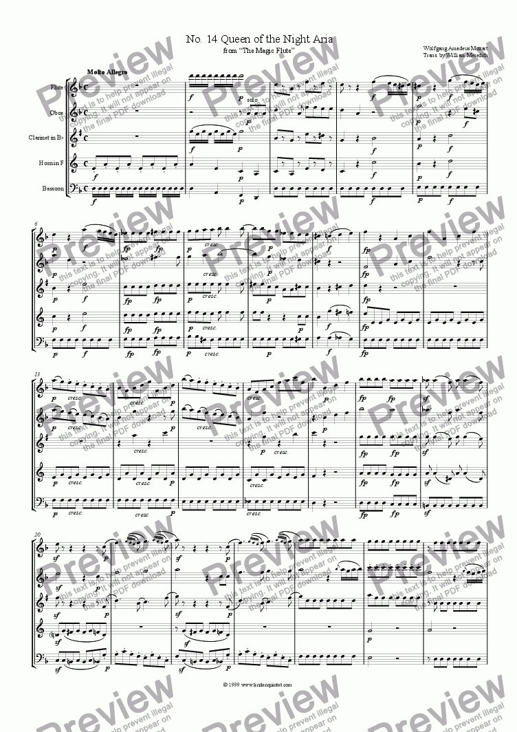 page one of Mozart - Magic Flute No. 14 Queen of the Night Aria