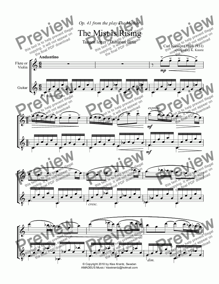 page one of The Mist is Lifting for flute or violin and guitar