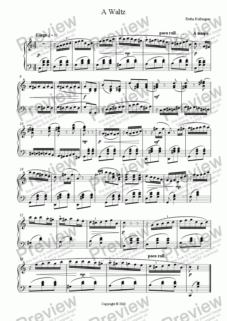 page one of A Waltz