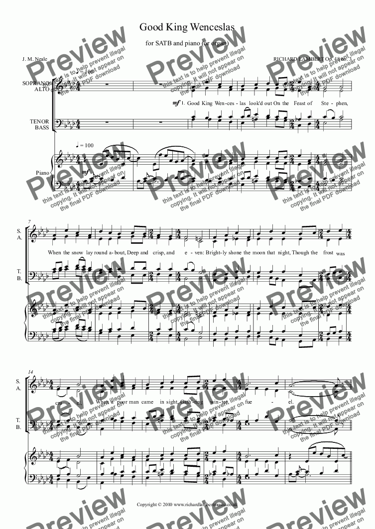 page one of Good King Wenceslas (SATB with piano or organ)