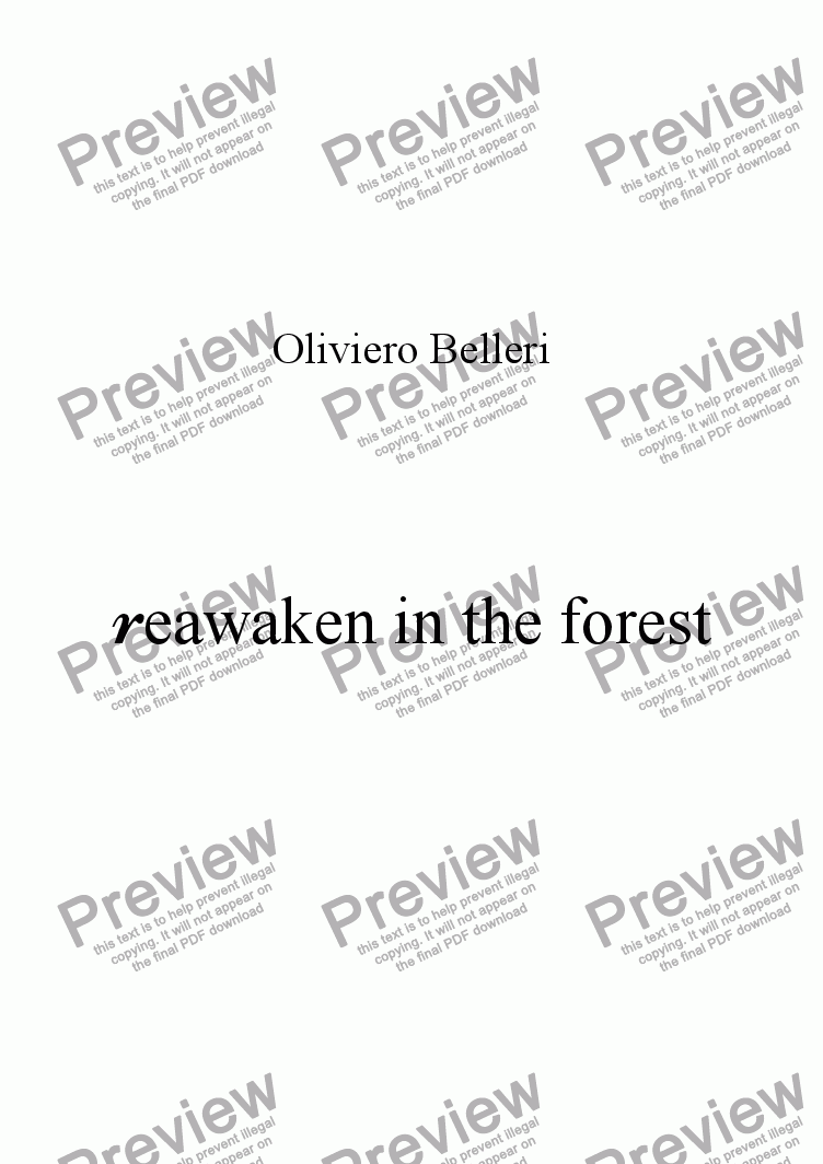 page one of Rewaken in the forest