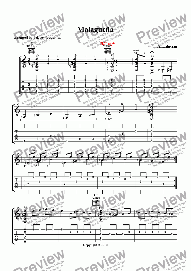 page one of Malaguena - music notation and tabulature edition