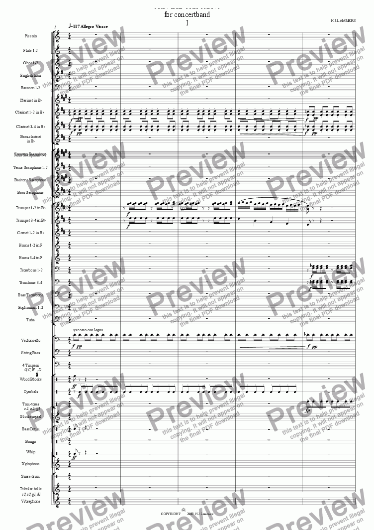 page one of Trivial Triphony 1, concertband