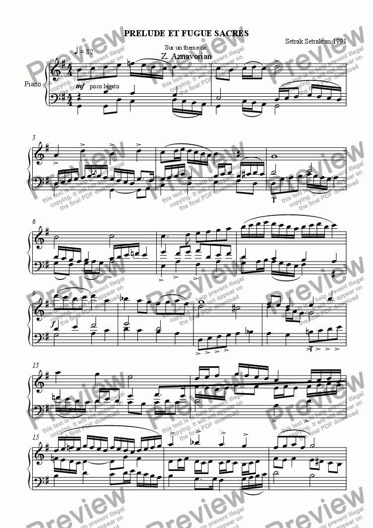 page one of Prelude et Fugue Sacres