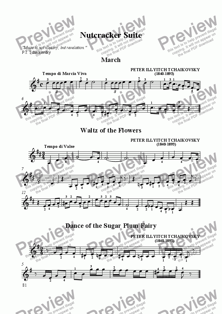 page one of Nutcracker Suite - three melodies for solo guitar